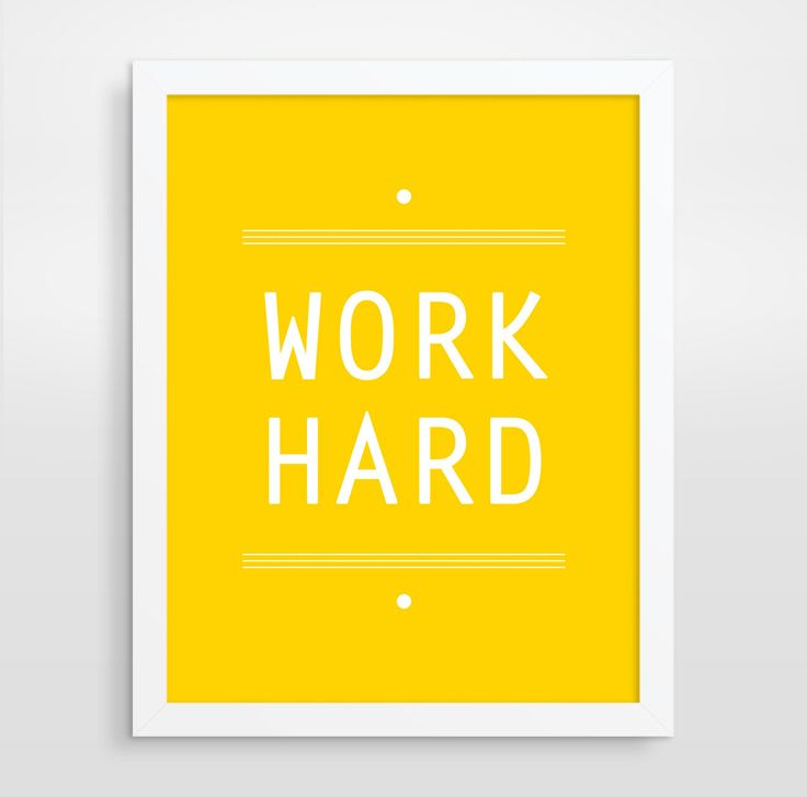 Work Hard Print Modern Office Decor Yellow Typography by evesand, $18.00