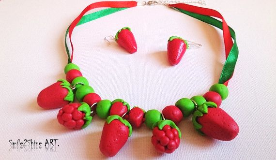 Strawberry necklace Strawberry jewelry by Smile2ShineArt on Etsy