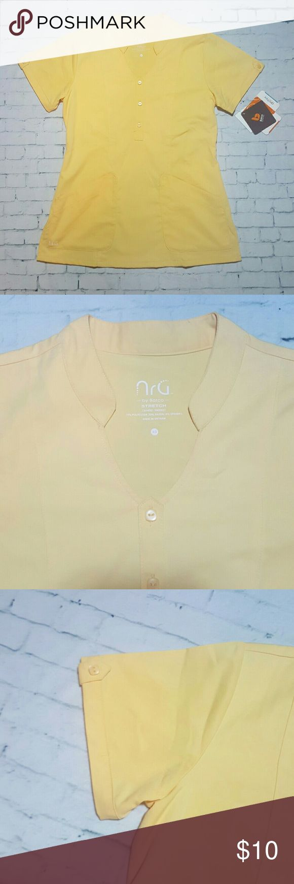 NRG Barco Scrub Top New with tags.  Color: Lemon drop.  Two scrub tops for $16  Grey's Anatomy  Urbane HeartSoul  Iguana  Dickies Med Couture Cherokee  Koi Landau Barco Tops