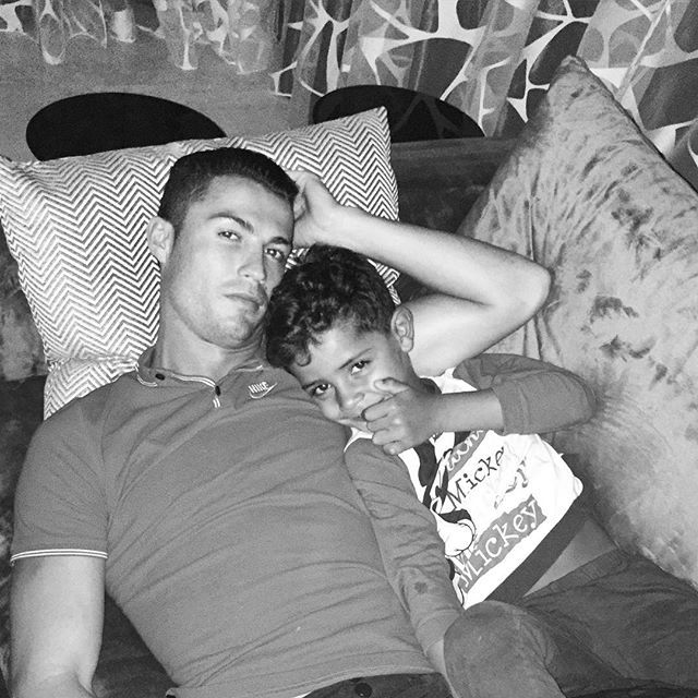 Pin for Later: 15 Times Cristiano Ronaldo and His Son, Cristiano Jr., Were Total Twins When They Snuggled on the Couch