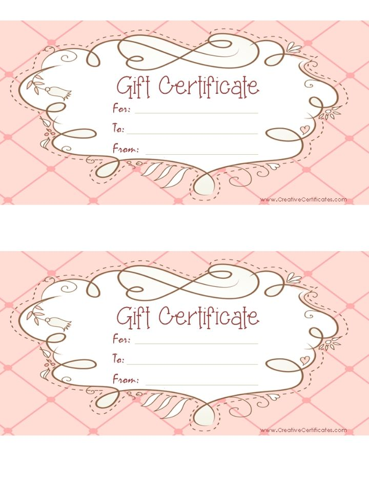 free printable pink gift certificate with a brown drawing                                                                                                                                                      More