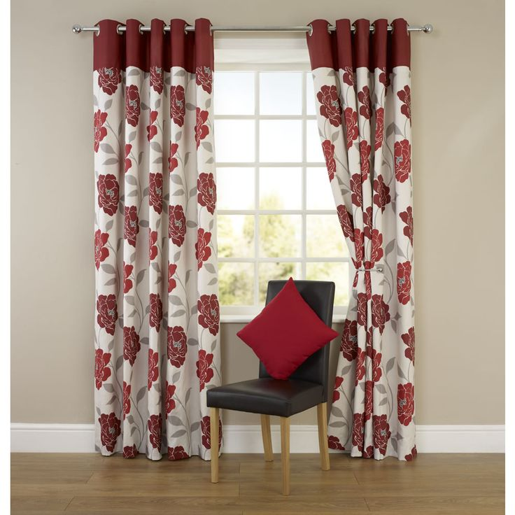 Molly Floral Eyelet Curtains Red 117cm X 137cm Home