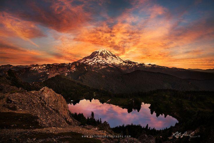 Reflective Sunrise at Mt. Rainier by Rick Parchen on 500px – Sunrise