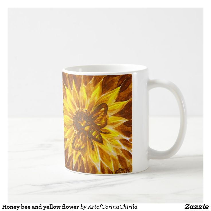 Honey bee and yellow flower coffee mug