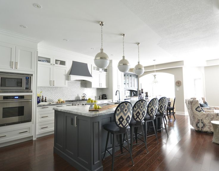 White Kitchen with Gray Island, Transitional, Kitchen, Meredith Heron Design