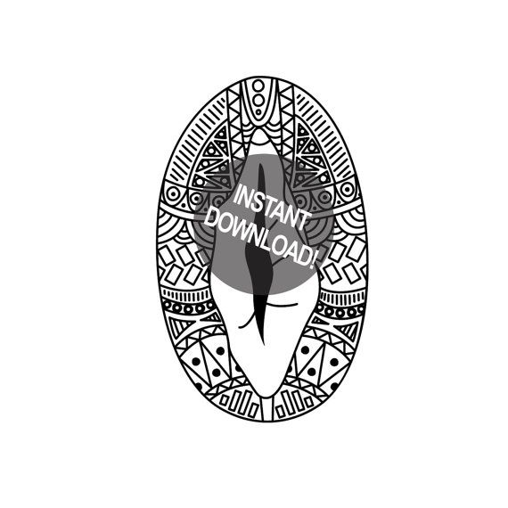 zentangle downloadable pussy coloring page naughty coloring page vagina party vagina art - X Rated Coloring Books