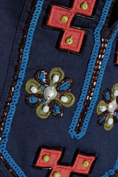 Tory Burch - Tory Appliquéd Embellished Cotton Tunic - Navy - US0