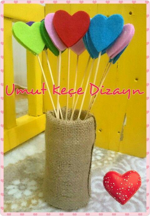 Keçeden kalp, keçe, keçeden, felt, felt heart, felt decoration, felt flower, umut keçe Dizayn, Turgutreis, Bodrum