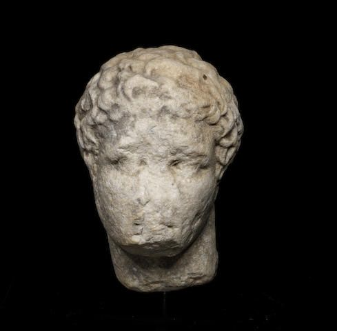A Greek marble head of an athlete