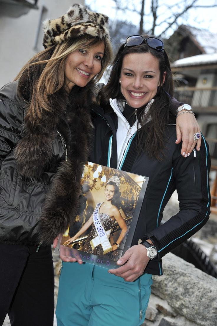 Miss Marie-Olga Charriol and Marine Lorphelin, Miss France 2013, wearing her Charriol Parisii full diamond watch in Megève.