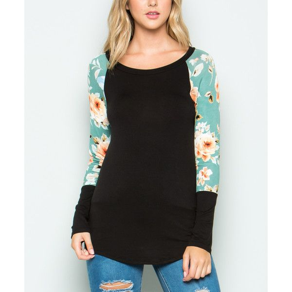 Acting Pro Black & Sage Floral Raglan Top ($15) ❤ liked on Polyvore featuring tops, flower print top, raglan top, floral tops, floral print tops and raglan sleeve top
