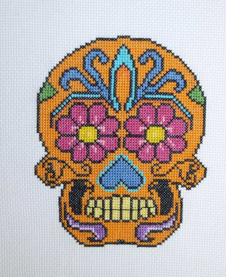 Orange sugar skull cross stitch pattern. Free ($0).