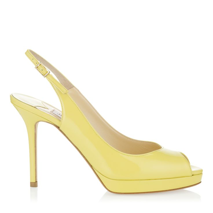 Lemon Patent Platform Sling Back Sandals
