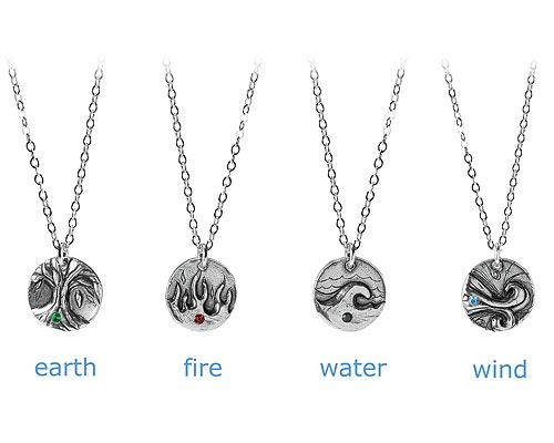 ELEMENTS NECKLACE | Four Element, Earth, Wind, Water and Fire, Recycled Sterling Silver, Astrology, Signs, Horoscope, Zodiac | UncommonGoods