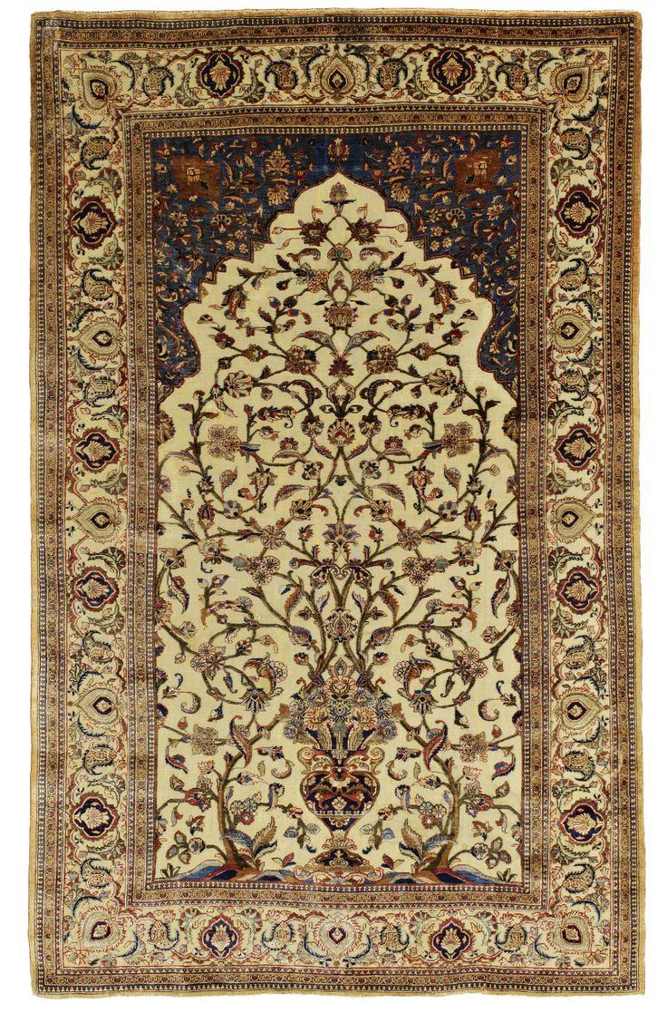 A Kashan Silk Souf Prayer Rug, Central Persia | Lot | Sothebyu0027s
