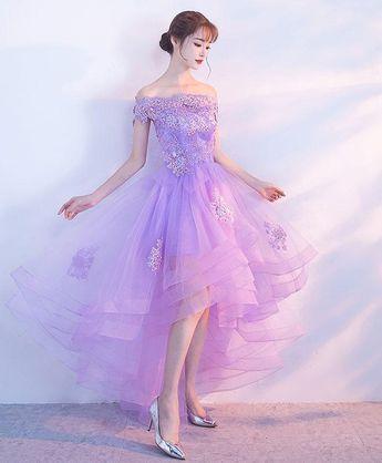 920c0acdc23 Симпатичные фиолетовые кружева аппликация платье выпускного вечера ...
