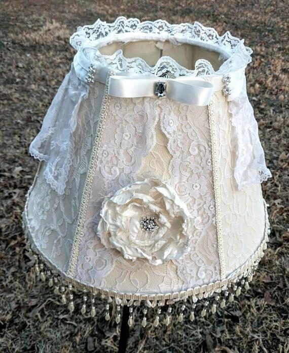 Lace lampshade shabby chic decor embellished lampshade