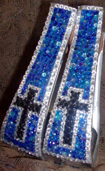 Cowhorse Designs Blue Crosses Bling Stirrups