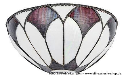 helle TIFFANY-Wand-Lampe, Serie ARAGON.  15h x 31b x 15 t. 1 x E14, 40W  ... ein wunderschönes, dezentes Design, bestehend aus geschwungenen Linien und Tiffany-Gläsern in dezenten Bronze- und Cremetönen. Kombiniert mit einer Bronze-Effektarmatur, gern auch dimmbar und kompatibel mit LED-Lampen