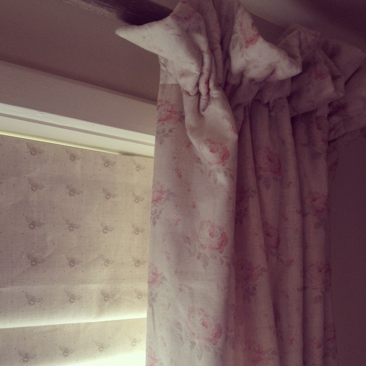 Bedroom curtains in gorgeous Peony and Sage Georgian Roses, Roman Blind in Just Bees