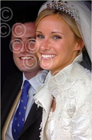 The current Earl of Pembroke and his bride, Victoria Bullough when they married in May 2010, with the bride wearing a very nice diamond and sapphire tiara..