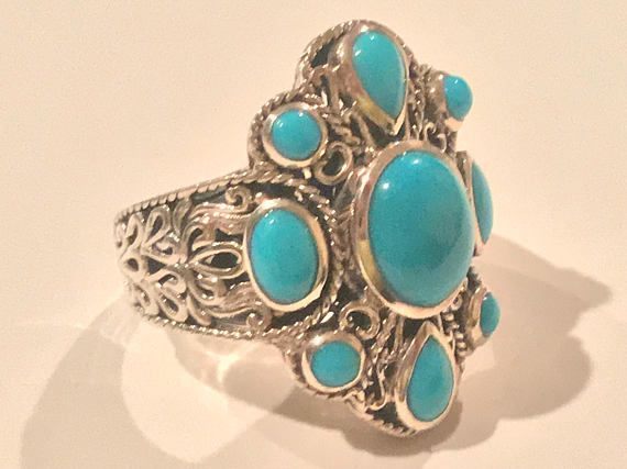 Sleeping Beauty Turquoise Textured Openwork Sterling Silver Ring *Size 8 *Pre-Owned $98.00 #Fashion #Vintage #HealingStones #PositiveEnergy #Sale