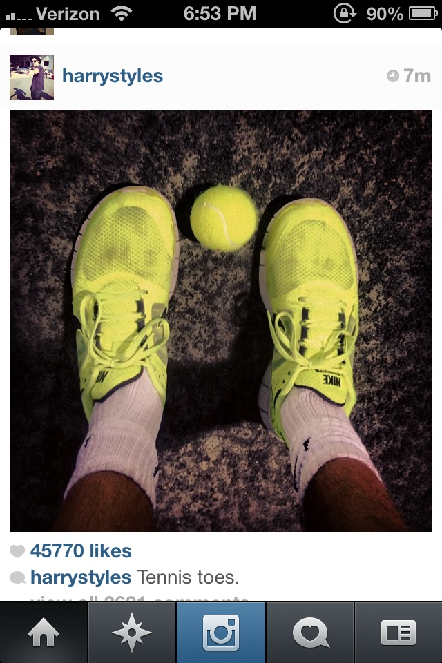 Guys, Harry plays tennis. I play tennis. It's fate. We can be one of those cute couples who go play sports together.