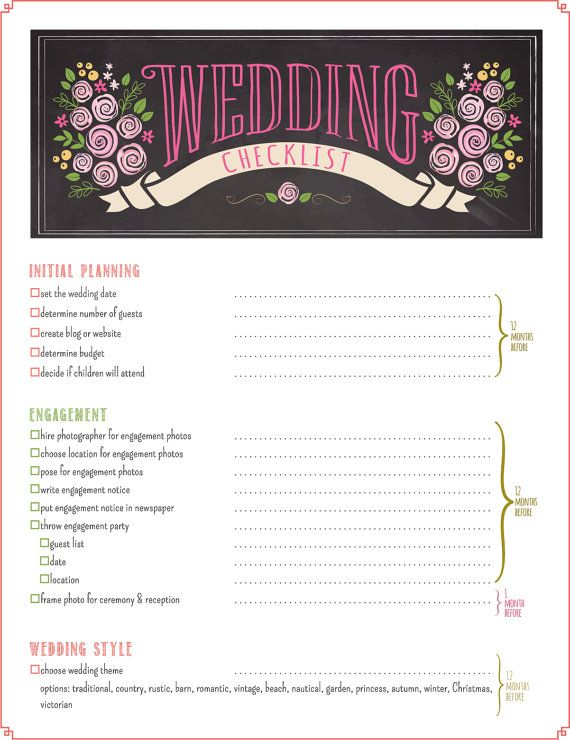 The most detailed & complete wedding checklist available with over 430 to do tasks and 12-month wedding timeline all in a 16-page printable PDF instant