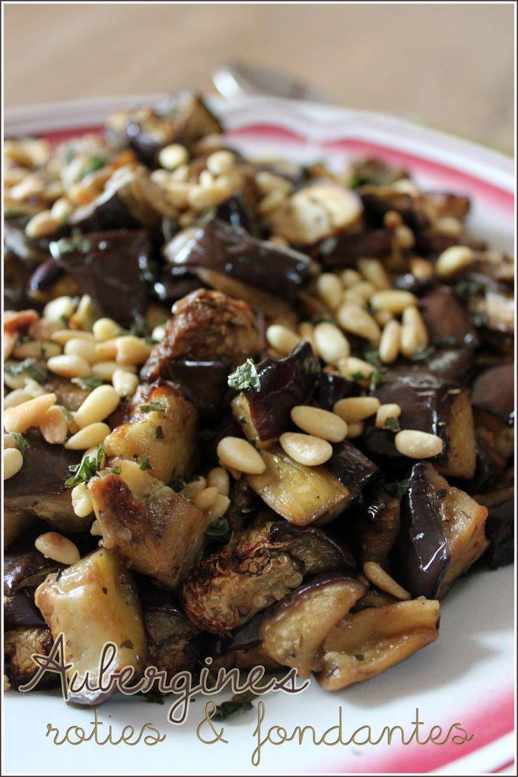 Salade d'aubergines rôties et fondantes à la menthe et aux pignons de pin