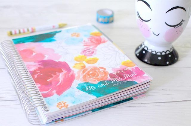 Loving my new Erin Condren planner. The watercolor flowers from the cover is to die for. Love my planner!  www.mrandmrsmint.com
