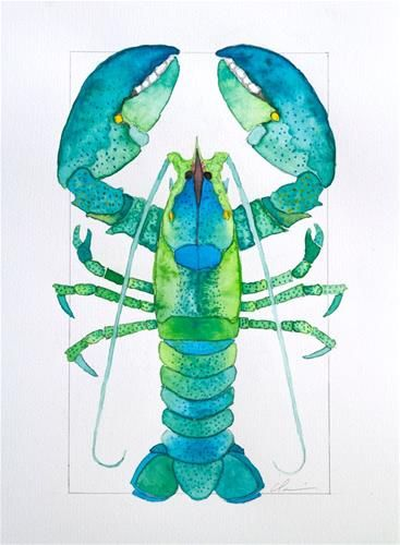 "Daily Paintworks - ""Green Lobster"" - Original Fine Art for Sale - © Clair Hartmann"