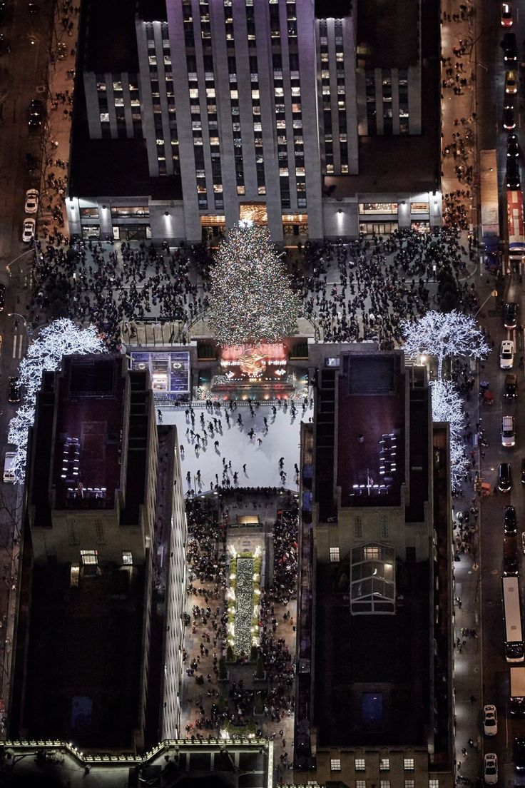 Aerial view of Rockefeller Center in New York City