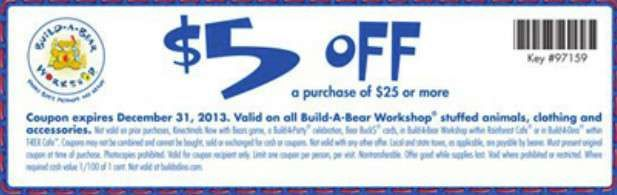 $5 off $25 or more Use Build A Bear Coupon In-store Printable Build A Bear Coupon [Exp. 12/31]