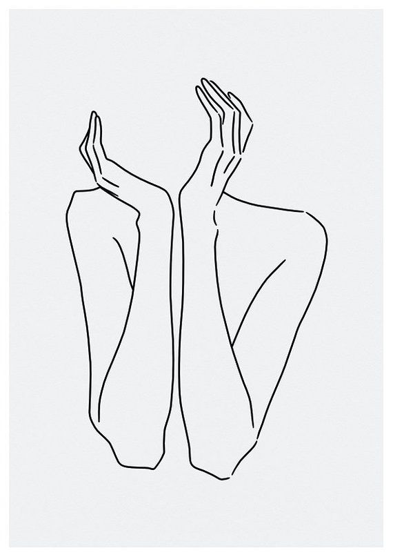 sketch #29 LINE ART PRINT minimalist line art woman body lines Self drawing interior design minimal decor home artwork A4 limited – Vania Ignatova