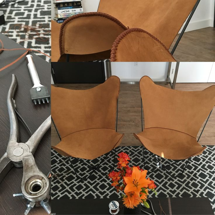 Hand made custom leather butterfly chairs. Nubuck cow.  #leatherchair #butterflychair #handmade #badami
