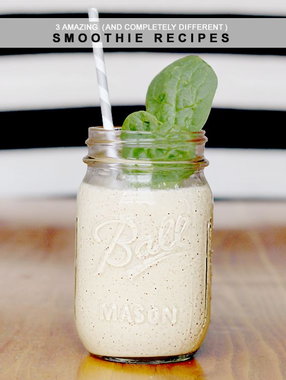3 Amazing (and Completely Different) Smoothie Recipes - via Bubby and Bean