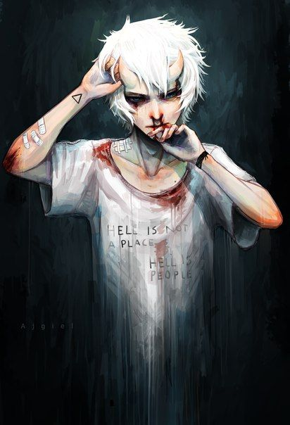 """iriri no guro -OMG...what's written onhis shirt though : """" HELL IS NOT A PLACE ......HELL IS PEOPLE......"""""""