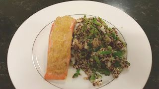 Salmon Steak with Quinoa Mint and Feta salad