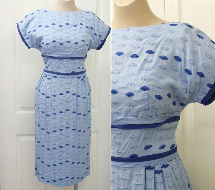 1950s Cotton Novelty Weave Dress Sz 6 10 36/28/36 Blue Wiggle 50s Rockabilly by KittysVintageKitsch on Etsy