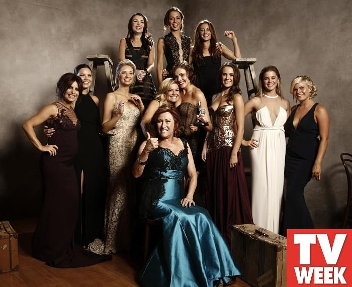 Logies 2014 - Girls of Home and Away - Irene, Leah, Sophie, Maddy, Marilyn, Sasha, Hannah, Denny, Ricky, Evie, Pheobe, and Roo.