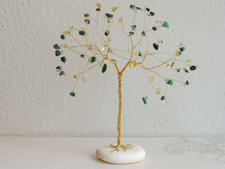 Suncatcher, Suncathcer gemstone tree sculpture, Peridot Citrine and Malachite…