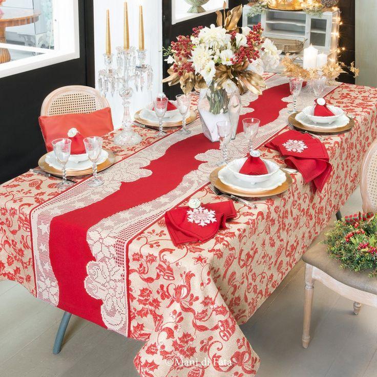 tela natalizia per fare tovaglia con applicazione uncinetto filet