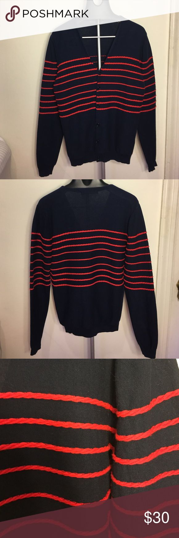 Zara Man Rope Stripe Nautical Cardigan This is a cotton Cardigan from ZARA Man. It's got a really cool rope stripe detail on the sweater. It says it's an XL but it really fits like a medium. I think it was a miss label. It's navy with red rope stripes. Great layering piece and in great condition! No holes or stains or wear. I guarantee everything I sell is in like new condition! Zara Sweaters Cardigan