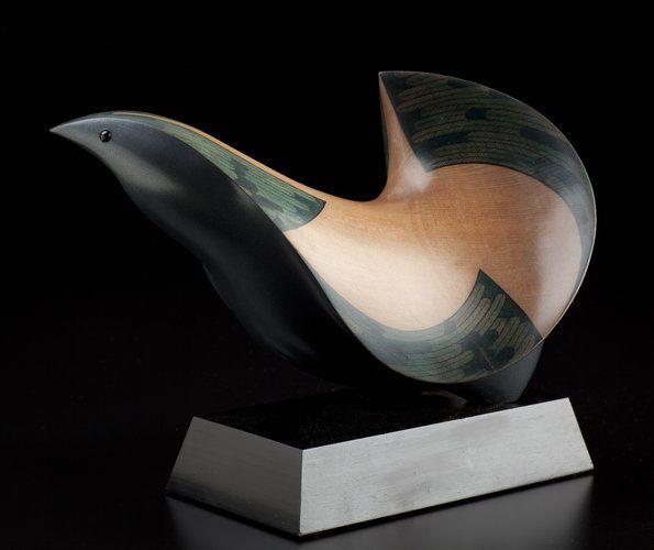 Grey Partridge by Rex Homan, carved in totara wood, NZ.