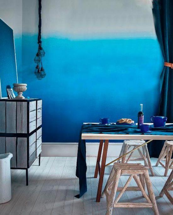 Interior Interior Design Indigo Walls: Love The Color Gradation On The Wall.
