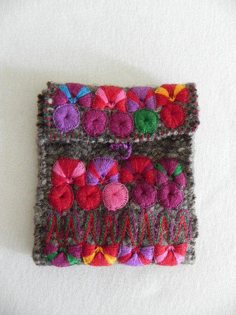 Mexican Grey Color Embroidery Handbag Purse Wallet Wool