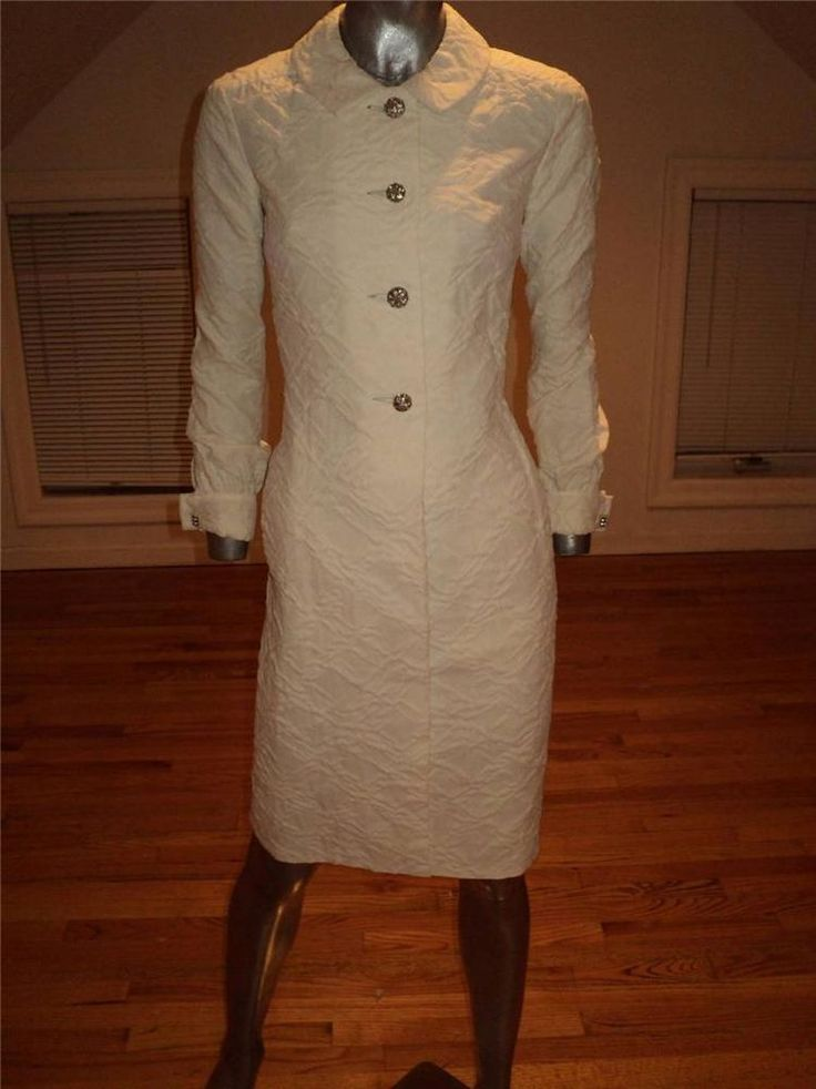 Vintage 1960 Malcolm Starr Coat Dress Quilted White Round Rhinestone Buttons #MalcolmStarr