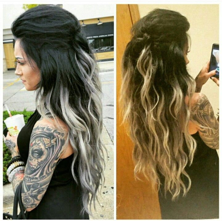 Best 25 white ombre ideas on pinterest ombre blonde hair flashback to last weeks good hair day black samantha silver hair extensions custom cut and colored by me blue toned black balayaged ombre to silver pmusecretfo Image collections