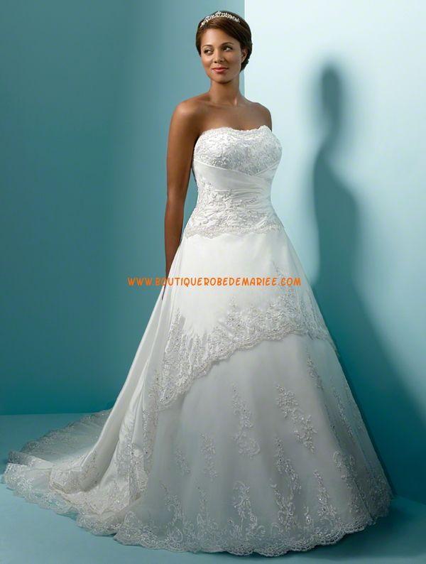 Robe de mariée grande taille taffetas dentelle classique