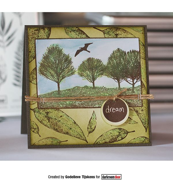 Card by Godelieve Tijskens using Darkroom Door Tree Line Photo Stamp, Leaves and Simply Circles Rubber Stamps
